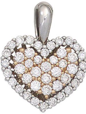 SIGO Anhänger Herz 585 Gold Weißgold Rotgold bicolor 43 Diamanten Brillanten