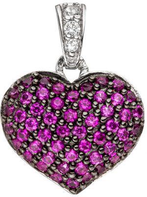 SIGO Anhänger Herz 925 Sterling Silber mit Zirkonia pink Herzanhänger Silberanhänger