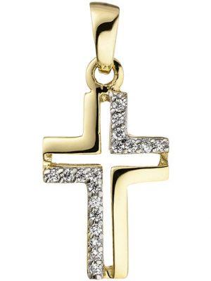 SIGO Anhänger Kreuz 375 Gold Gelbgold 18 Zirkonia Kreuzanhänger Goldkreuz
