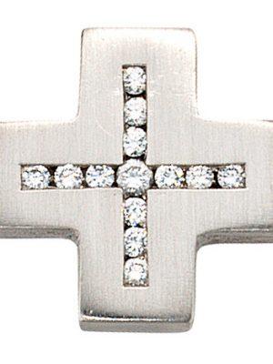 SIGO Anhänger Kreuz 950 Platin matt 13 Diamanten Brillanten Kreuzanhänger Platinkreuz