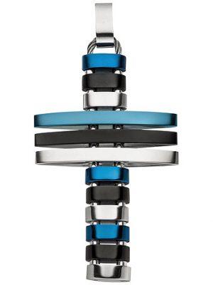 SIGO Anhänger Kreuz Edelstahl mit blauer und schwarzer PVD-Beschichtung flexibel