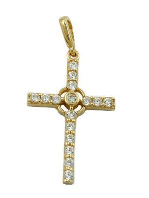 SIGO Anhänger, Kreuz mit Zirkonia, Gold 375