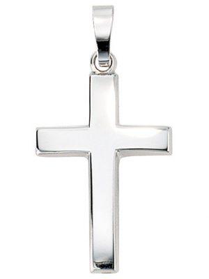 SIGO Anhänger Kreuz schlicht 585 Gold Weißgold Kreuzanhänger Weißgoldkreuz