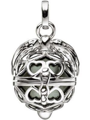 SIGO Anhänger Kugel zum Öffnen Herz Flügel 925 Sterling Silber mit dunkler Perle
