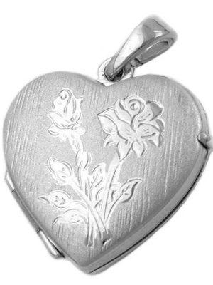 SIGO Anhänger Medaillon Herz rhodiniert Silber 925