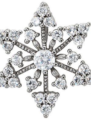 SIGO Anhänger Schneeflocke 925 Sterling Silber rhodiniert mit Zirkonia