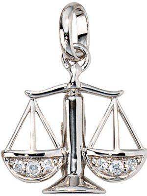 SIGO Anhänger Sternzeichen Waage 925 Silber mit Zirkonia Sternzeichenanhänger