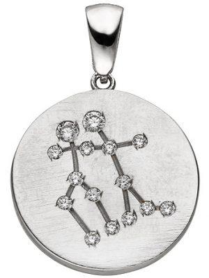 SIGO Anhänger Sternzeichen Zwilling 925 Sterling Silber matt 15 Zirkonia Silberan