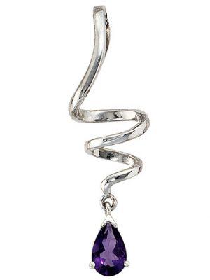 SIGO Anhänger Tropfen 925 Sterling Silber rhodiniert 1 Amethyst lila violett