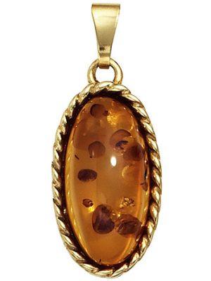 SIGO Anhänger oval 375 Gold Gelbgold 1 Bernstein