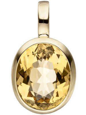 SIGO Anhänger oval 585 Gold Gelbgold 1 Citrin gelb Goldanhänger Citrinanhänger