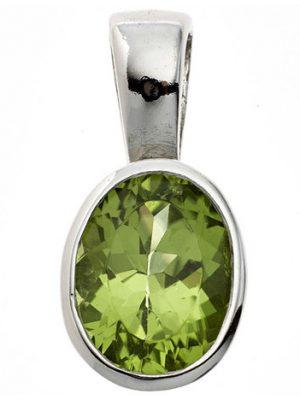SIGO Anhänger oval 925 Sterling Silber rhodiniert 1 Peridot grün