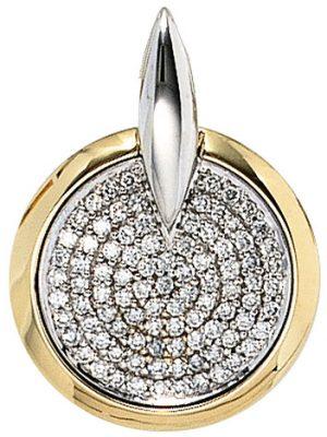 SIGO Anhänger rund 585 Gold Gelbgold Weißgold bicolor 91 Diamanten Brillanten