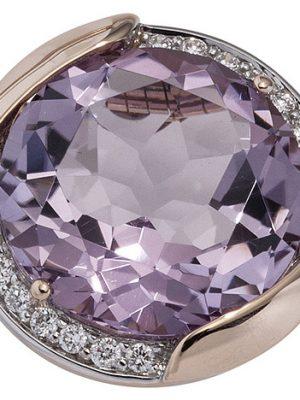 SIGO Anhänger rund 585 Gold Rotgold 16 Diamanten Brillanten 1 Amethyst violett lila