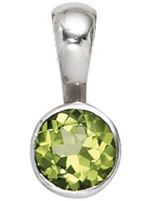 SIGO Anhänger rund 925 Sterling Silber rhodiniert 1 Peridot grün