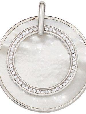SIGO Anhänger rund 925 Sterling Silber rhodiniert mit Zirkonia 1 Perlmutt-Einlage