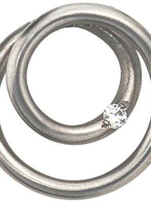 SIGO Anhänger rund 950 Platin matt 1 Diamant Brillant Platinanhänger