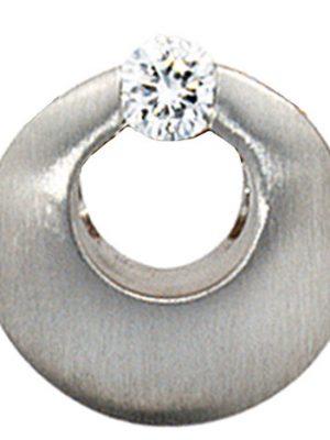 SIGO Anhänger rund 950 Platin mattiert 1 Diamant Brillant 0,09ct. Platinanhänger