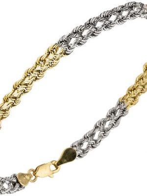 SIGO Armband 375 Gold Gelbgold Weißgold Rotgold tricolor dreifarbig 19 cm Goldarmband