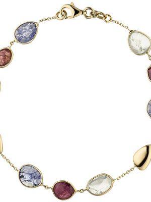 SIGO Armband 585 Gold Gelbgold 9 Turmaline 19 cm Edelsteinarmband