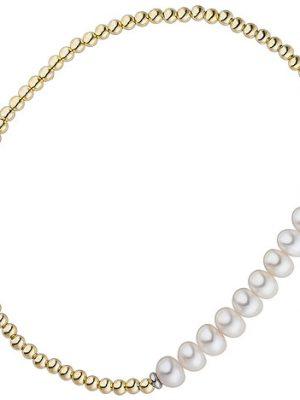 SIGO Armband 925 Silber gold vergoldet 10 Süßwasser Perlen Perlenarmband flexibel