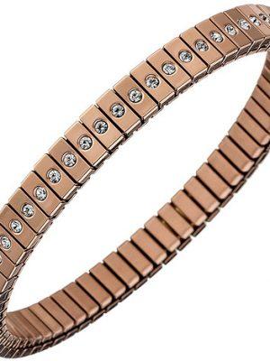 SIGO Armband Edelstahl rotgold farben beschichtet mit Zirkonia rundum 21 cm flexibel