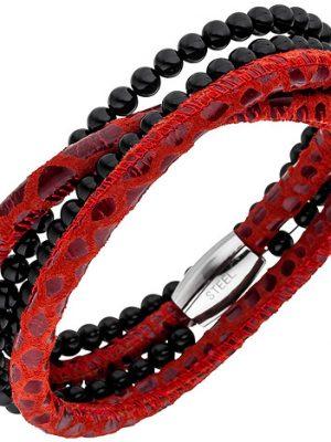 SIGO Armband Leder rot mit Onyx Kugeln und Edelstahl 19 cm Lederarmband