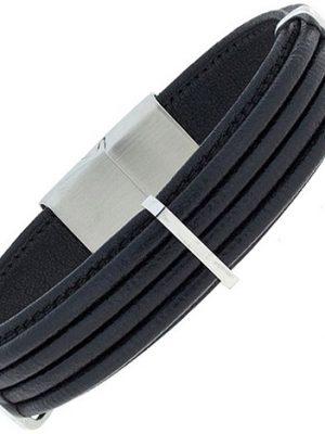 SIGO Armband Leder schwarz mit Edelstahl 19 cm