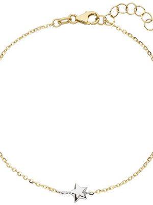 SIGO Armband Stern Sterne 375 Gold Gelbgold Weißgold bicolor diamantiert 18 cm