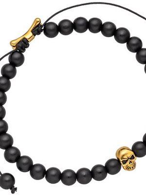 SIGO Armband Zugarmband Totenkopf mit Onyx-Perlen schwarz und Edelstahl 19,5 cm