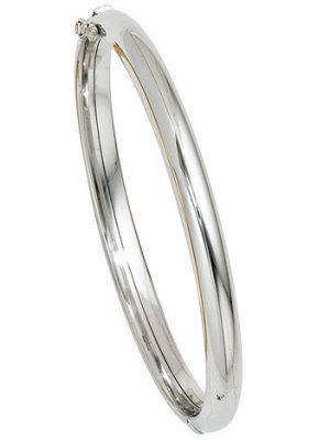 SIGO Armreif Armband oval 585 Gold Weißgold Goldarmreif Kastenschloss