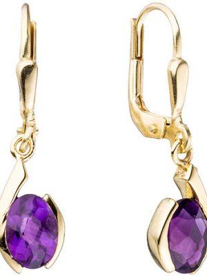SIGO Boutons 333 Gold Gelbgold 2 Amethyste lila violett Ohrringe Ohrhänger