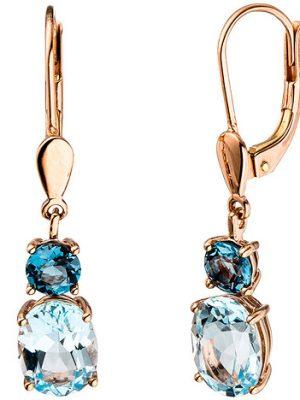 SIGO Boutons 585 Gold Rotgold 2 Blautopase hellblau blau Ohrringe Ohrhänger