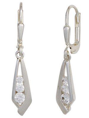 SIGO Boutons 925 Sterling Silber mattiert 6 Zirkonia Ohrringe Ohrhänger