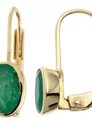 SIGO Boutons oval 333 Gold Gelbgold 2 Smaragde grün Ohrringe Ohrhänger Goldohrringe