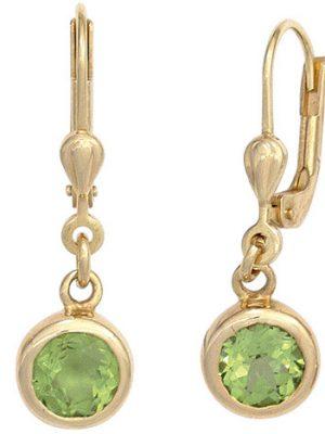 SIGO Boutons rund 585 Gold Gelbgold 2 Peridote grün Ohrringe Ohrhänger Goldohrringe