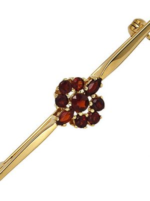 SIGO Brosche 375 Gold Gelbgold 9 Granate rot Goldbrosche