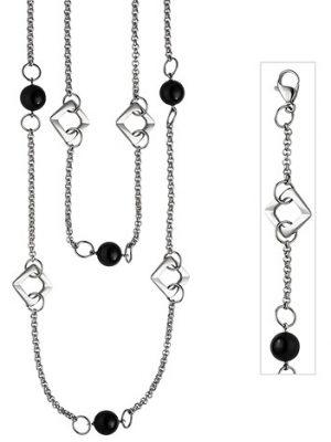 SIGO Collier Halskette 2-reihig aus Edelstahl mit schwarzem Achat 55 cm Kette