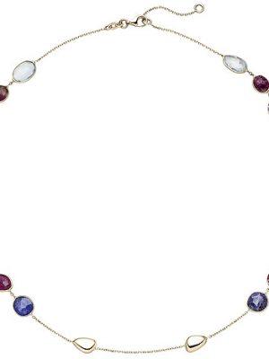 SIGO Collier Halskette 585 Gold Gelbgold 12 Turmaline 45 cm Kette Edelsteinkette