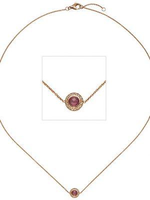 SIGO Collier Halskette 585 Gold Rotgold 1 Turmalin pink 16 Diamanten Brillanten 42 cm