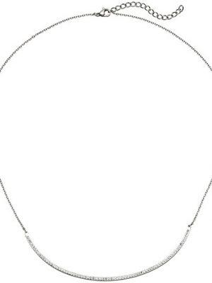 SIGO Collier Halskette Kette mit Anhänger aus Edelstahl mit Kristallen 50 cm