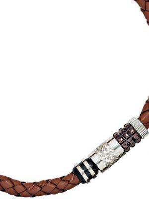 SIGO Collier Halskette Leder braun mit Edelstahl teilplattiert 45 cm Kette Lederkette