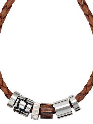 SIGO Collier Halskette Leder braun mit Edelstahl und Holz 45 cm Kette Lederkette