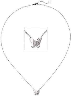 SIGO Collier Halskette Schmetterling 585 Weißgold 20 Diamanten Brillanten 45 cm Kette