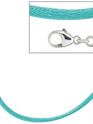 SIGO Collier Halskette Seide türkis 42 cm, Verschluss 925 Silber Kette