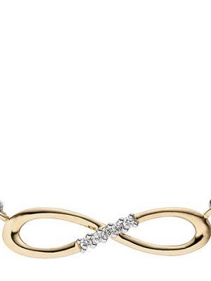 SIGO Collier Halskette Unendlich 585 Gold bicolor 5 Diamanten Brillanten Kette