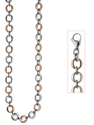 SIGO Collier Halskette aus Edelstahl rotgold farben beschichtet bicolor 47 cm Kette