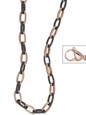 SIGO Collier / Halskette aus Edelstahl rotgold vergoldet mit schwarzer Keramik 47 cm