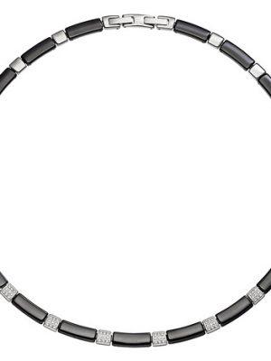 SIGO Collier Halskette aus schwarzer Keramik mit Edelstahl und Zirkonia 47 cm Kette