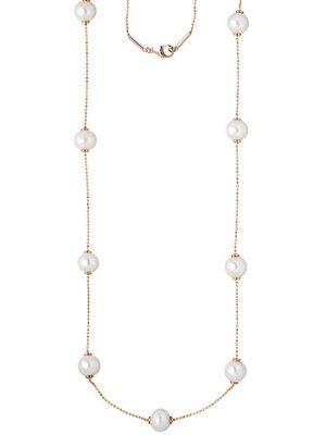 SIGO Collier Kette Halskette 925 Silber rotgold vergoldet 13 Süßwasser Perlen 90 cm